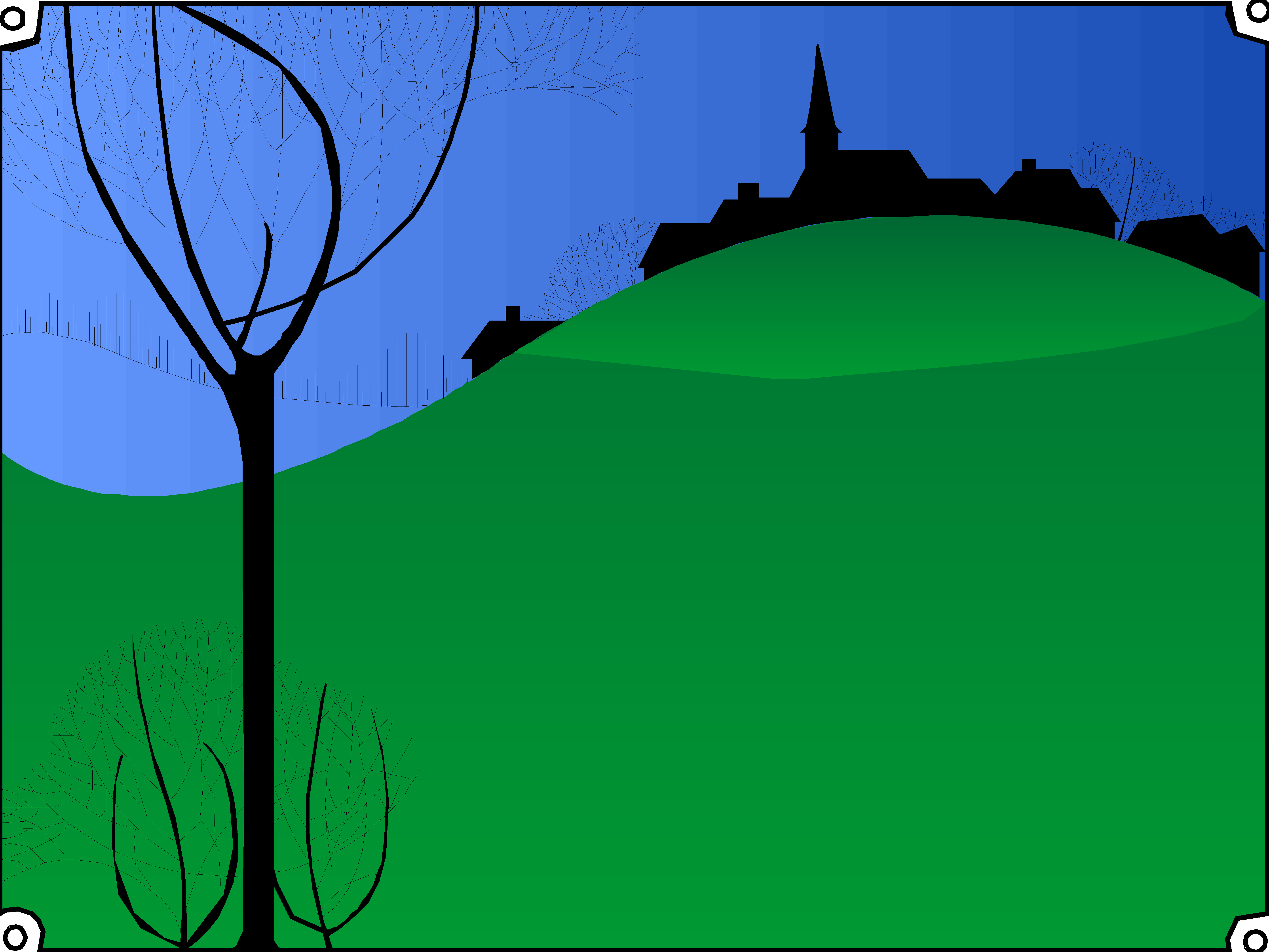 silouette-of-village-on-a-hill.